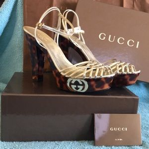 GUCCI Leopard Gold Strip Heels Size 39